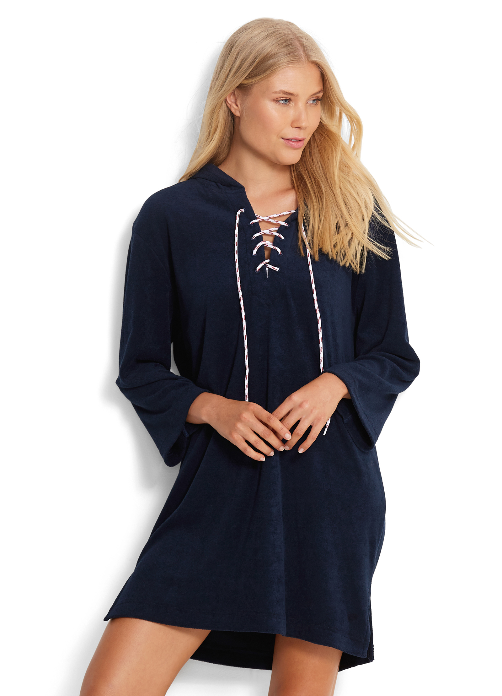 Туника Seafolly Beach Basics Lace Up Towelling Cover Up (Navy) S-10 фото