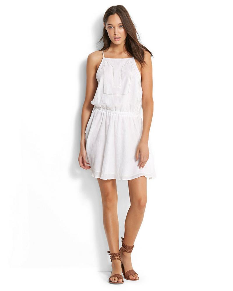 Платье Seafolly Palm Beach Ladder Tape Dress (White) L-14 фото
